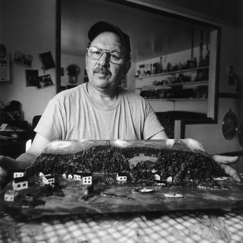 Portrait of Peter Picco with his model of St. Joseph's, Placentia Bay